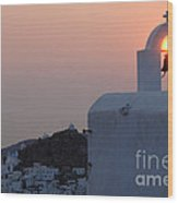 Sunset On Greek Ios Wood Print