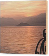 Sunset On Lake Como Wood Print