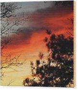 Sunset On Mountain Road  Wood Print