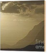 Sunset On Mountains By Coastal Landscape Wood Print