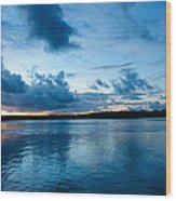 Sunset On Noosa River Wood Print