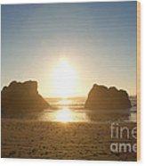 Sunset On Ruby Beach Wood Print