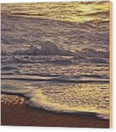 Sunset On Small Wave Wood Print