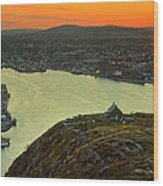 Sunset On St. John's Harbour Wood Print