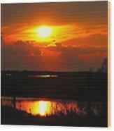 Sunset On The Bayou Wood Print