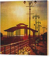 Sunset On The Boardwalk Wood Print