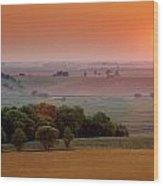 Sunset On The Prairies, Holland Wood Print