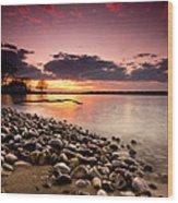 Sunset On The Rocks Wood Print