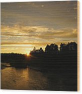 Sunset On The Rogue River Wood Print
