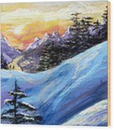 Sunset On The Snow Wood Print by Trudy Morris