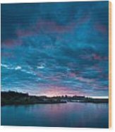Sunset Over A River  Wood Print