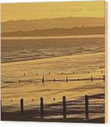 Sunset Over Beach In Winter Youghal Wood Print