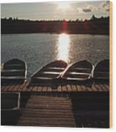 Sunset Over Bear Pond Sabattis Adventure Camp Wood Print