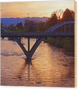 Sunset Over Caveman Bridge Wood Print
