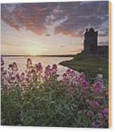 Sunset Over Dunguaire Castle, Kinvara Wood Print