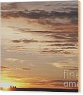 Sunset Over Grain Bins Wood Print