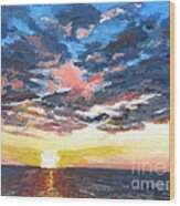 Sunset Over Green Bay Wood Print