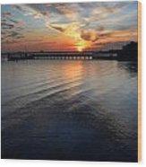 Sunset Over Gulfport Casino In Gulfport Florida Wood Print
