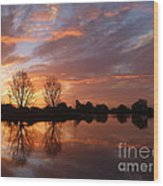 Sunset Over Lake At Finley Wood Print