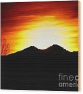 Sunset Over Longs Peak Wood Print