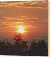 Sunset Over Maine Wood Print