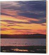 Sunset Over Marshes Parker River National Wildlife Refuge Wood Print