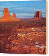 Sunset Over Monument Valley Wood Print
