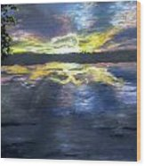 Sunset Over Mystic Lakes Wood Print