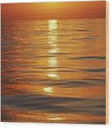 Sunset Over Ocean Horizon Wood Print