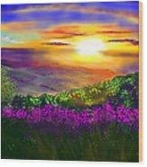Sunset Over Rosedale Wood Print