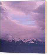 Sunset Over Snow-capped Mountains Wood Print