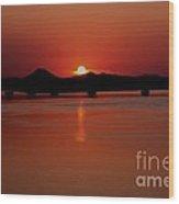 Sunset Over The Big Dam Bridge Wood Print by Joe Finney