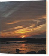 Sunset Over The Clamflats Wood Print