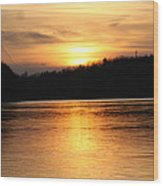 Sunset Over The Connecticut River Wood Print