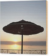 Sunset Over The Dead Sea Wood Print