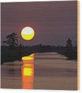 Sunset Over The Lagoon Wood Print