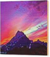 Sunset Over The Sierras Wood Print