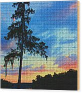 Sunset Over The Suwanee Mosaic Wood Print