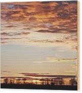 Sunset Over The Tree Line Wood Print