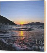 Sunset Over The Waves Wood Print