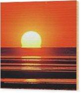 Sunset Over Tidal Flats Wood Print