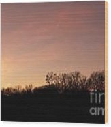 Sunset Over Trees Wood Print