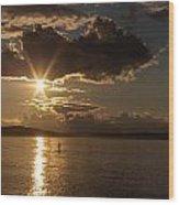 Sunset Paddleboarder Wood Print