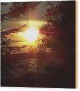 Sunset Peaking Through The Trees Wood Print