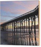 Sunset Pier San Simeon California 2 Wood Print