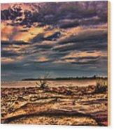 Sunset Rocks Wood Print