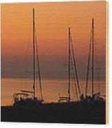 Sunset Sail Wood Print