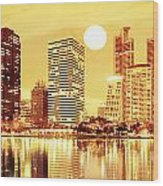 Sunset Scenes Of City Wood Print