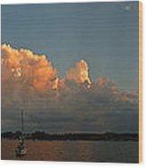 Sunset Storm Clouds Panorama Wood Print