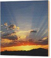 Sunset Sun Rays Wood Print